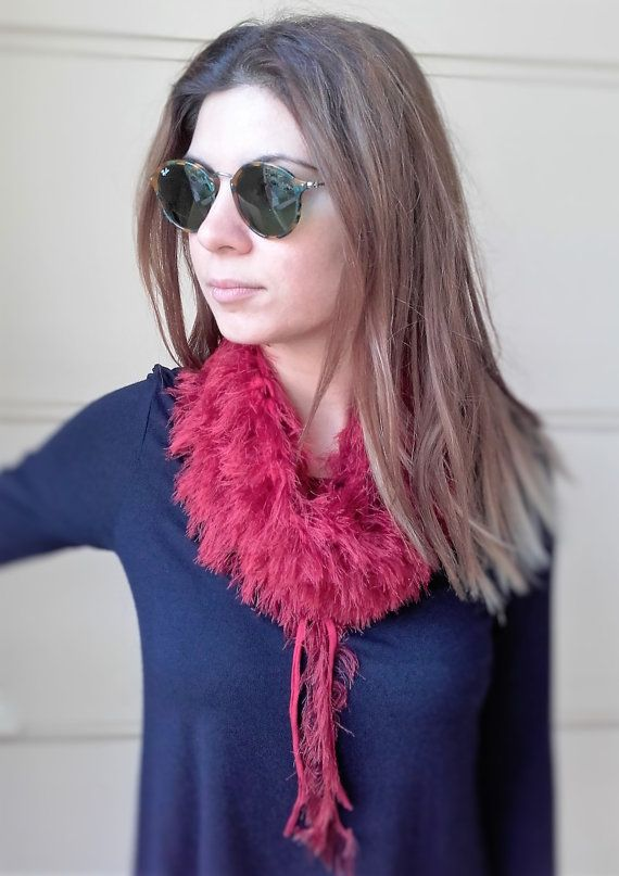 Red fringed collar Faux fur collar Trendy by MariliartbyM on Etsy