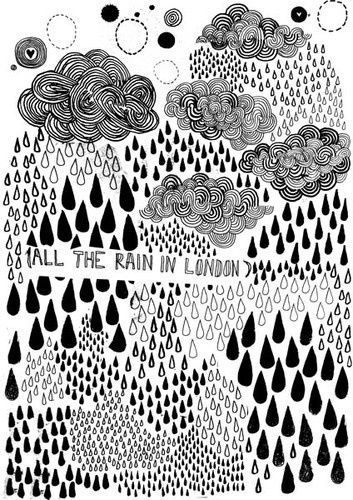 London: James Of Arci, James Gulliver, Gulliver Hancock, Clouds Drawing, Illustration, Art, London Prints, Design, Rain