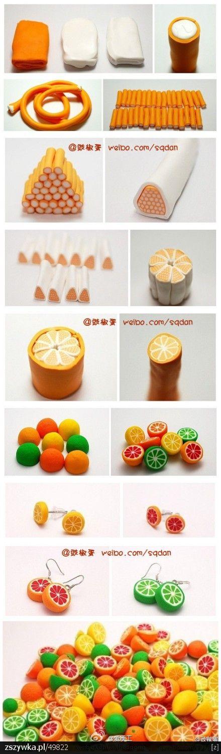 Moje inspiracje i recepta na zabicie nudy :D : Wzór na kolczyki z modeliny - pomarańcza