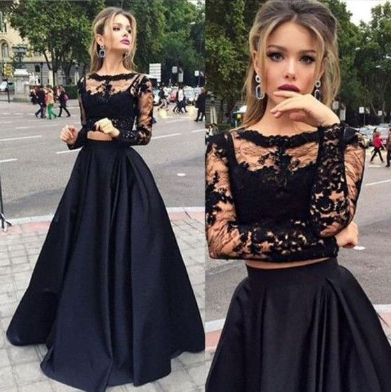 Black Prom Dress,Lace Prom Dress,2016 Prom Dress,Long Sleeves