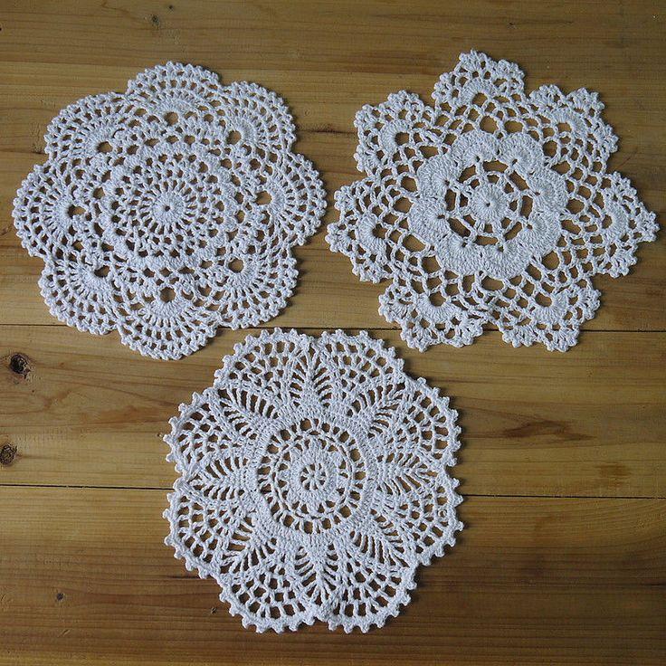 30Piece Handmade Crochet pattern 3 designs Crocheted Doilies coasters round Dial #Handmade