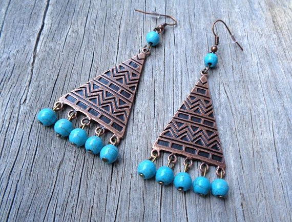 Large Geometric Copper Tone and Turquoise Earrings, Beaded Earrings, Boho Earrings, Bohemian, Tribal Earrings, Friendship Gift, Unique Gift