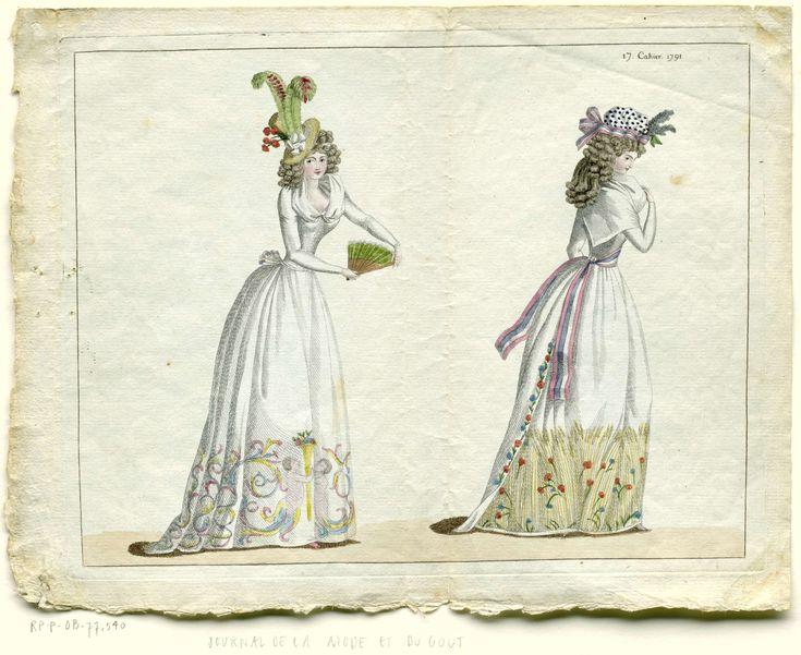 Journal de la Mode et du Goût, 5 Août 1791, 17e cahier, pl. 1 en 2, M. Le Brun, 1791