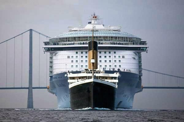 M/S Allure of the Seas compared to the RMS Titanic worlds largest passenger ships one hundred years apart