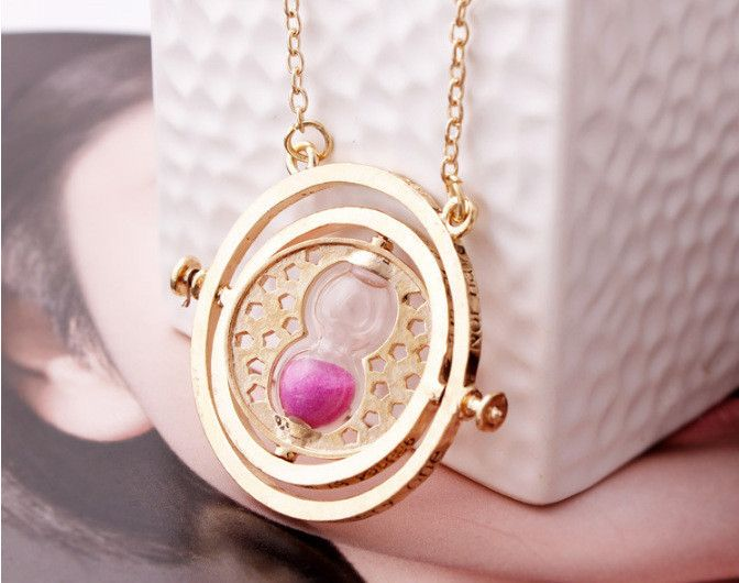 Harry Potter Colorful Hourglass Rotating Wish Necklace Time Converter Hourglass Sweater Chain