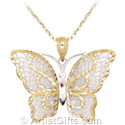 Made in USA! This beautiful 14k Gold Butterfly Necklace has delicate filigree work and rhodium accents. One of our many butterfly necklace styles at ArtistGifts.com