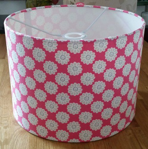 Drum Lampshade in Raspberry Daisy Print Fabric from Radiance Designs www.radiance-designs.co.uk
