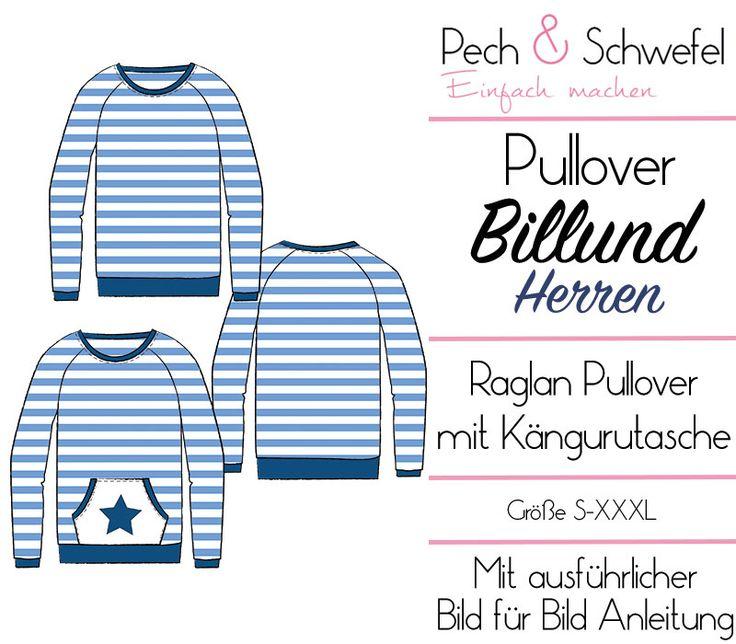 E-Book Schnittmuster Billund ein Basic Raglan Pullover für Herren bis Größe XXXL ★
