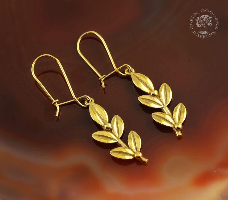 olive leaves golden dangle earrings, olive leaf, golden olive leaf, olive leaf earrings, nature earrings, olive leaves, leaf earrings by GreekGoddessJewelry on Etsy