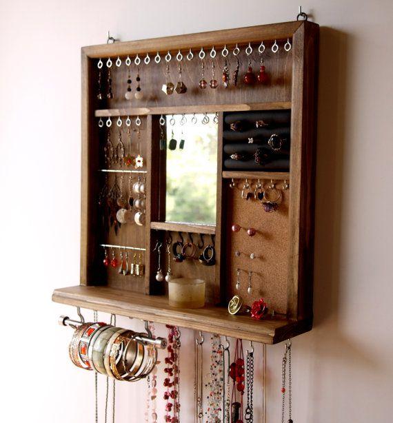 Jewelry display mirror. earrings display. necklace holder. WALNUT earring holder with shelf. wall mounted jewelry storage. earrings storage.