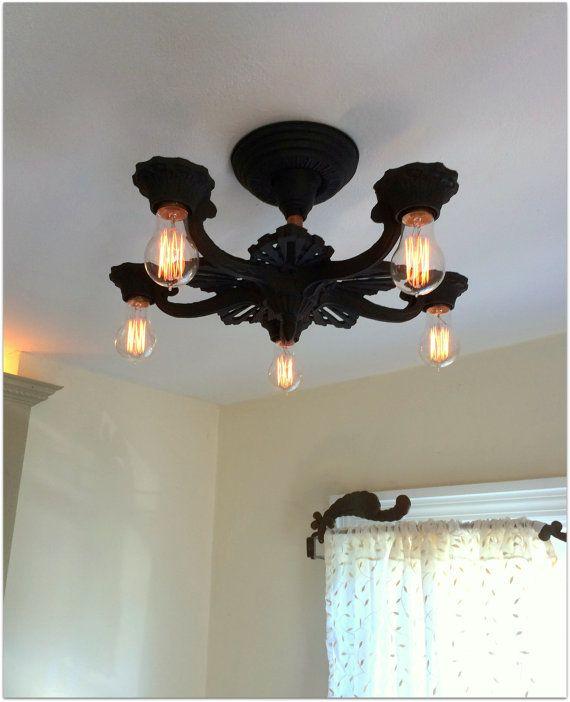 Antique semi flush mount ceiling fixture by antiquelightfixtures