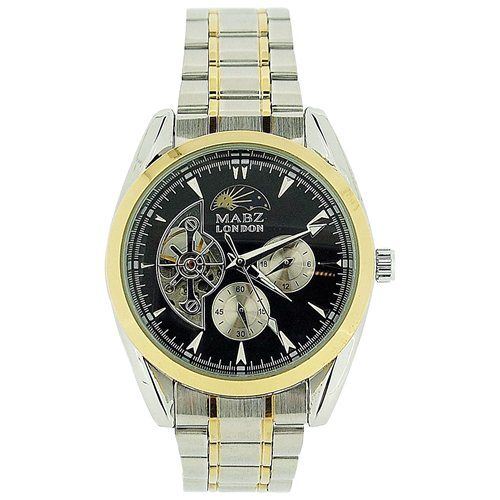 Mab London Automatic Mens 2-Tone Stainless Steel Skeleton Dial 2 Sub-Dial Watch