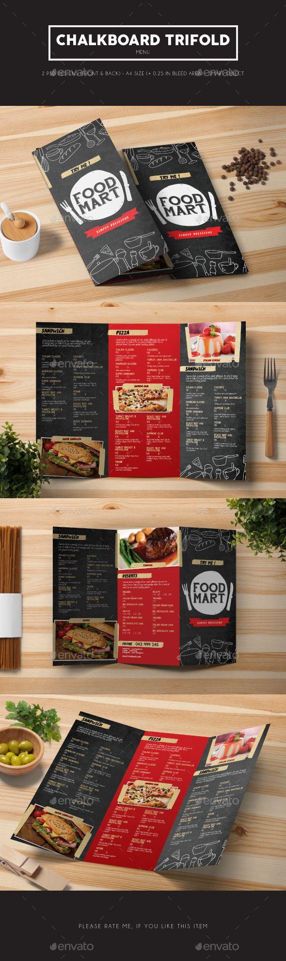 Chalkboard Trifold Menu Template PSD #design Download: http://graphicriver.net/item/chalkboard-trifold-menu/13233115?ref=ksioks