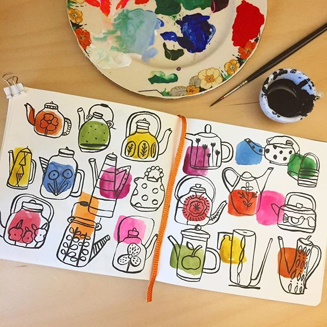 Teapots with watercolor & ink in my sketchbook. #teapots #penandink…