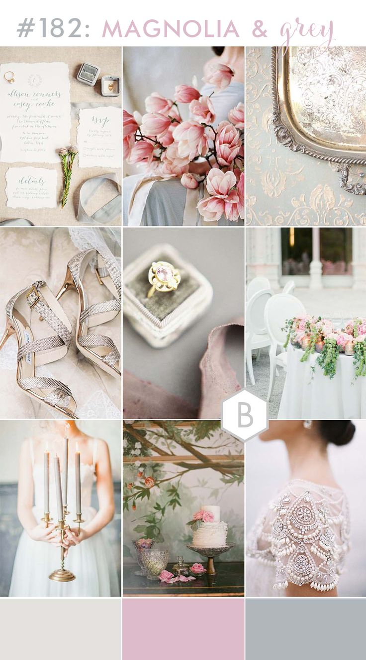 Magnolia & Grey wedding inspiration board on B.Loved blog - a cool tone colour palette of grey pink and a hit of grey-blue. Antique pieces, velvet textures and pink magnolia, peonies and david austen roses! Created by Catharine Noble of Catharine Noble photography for b.loved blog