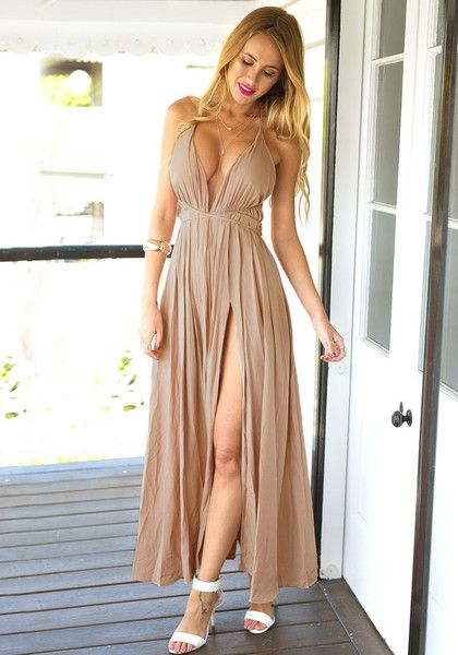 Make a grand entrance to any social event in this entrancing cameo color strappy plunge dress.