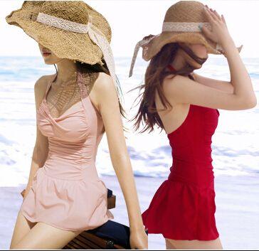 Aliexpress.com da  swimsuit   deki 2014 Kore küçük taze etek türü yapışık muhafazakar kapak göbek kız bir  parça askısız mayo şınav ücretsiz