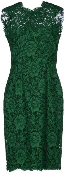 VALENTINO Green Lace Kneelength Dress