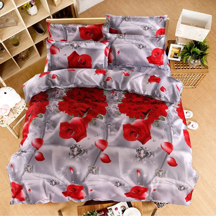 home d cor on a budget Home textiles New The red pink flower 3D 4pcs Bedding  Sets Cover Bed Sheet BedclothesCotton Polyester queen    Shop 4 Xmas n 2018. 415 best Bedding sets images on Pinterest   Bedding sets  Home