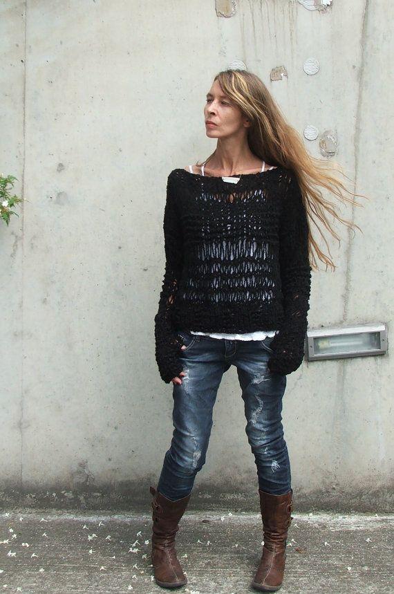 Black sweater / Black knit sweater over sized grunge by ileaiye, $100.00