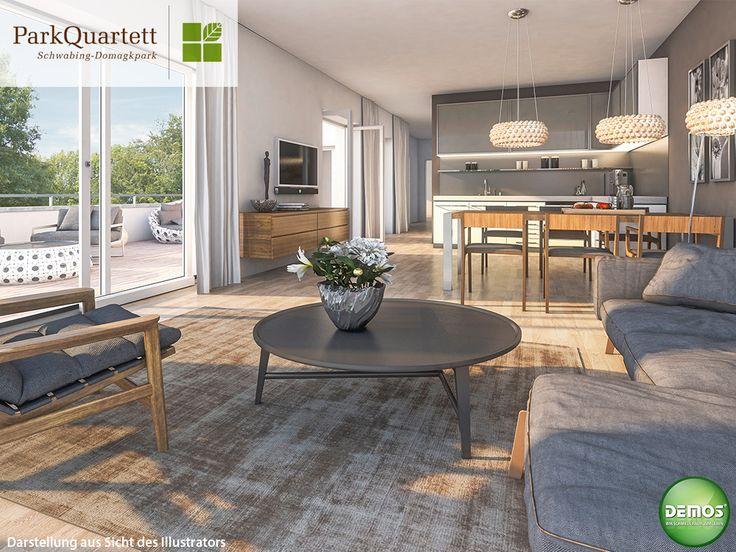 Innenillustration Wohnküche - ParkQuartett #ParkQuartett - architekt wohnzimmer