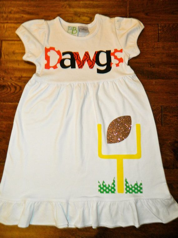Football Dress-Georgia Bulldogs Toddler Dress-Football Applique-You Choose Team Mascot and Colors