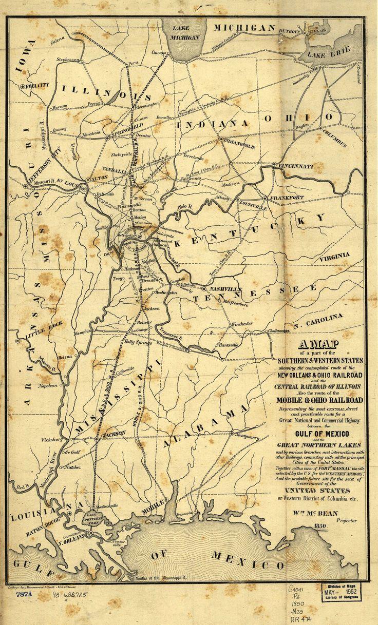 Illinois Central Railroad Map 1850