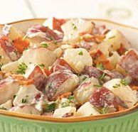 Potato & Bacon Potato Salad......... I just made this for the 4th and had to take a cooker's bite! It is so GOOD!!!Potatoes Salad Recipe, Sidedishes, Side Dishes, Keys Ingredients, Salad Recipes, Potato Salad, Yummy Recipe, White Vinegar, Bacon Potatoes Salad