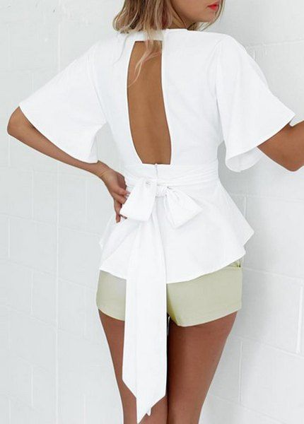 Sexy Short Sleeve Plunging Neck Asymmetrical Flounce White Blouse