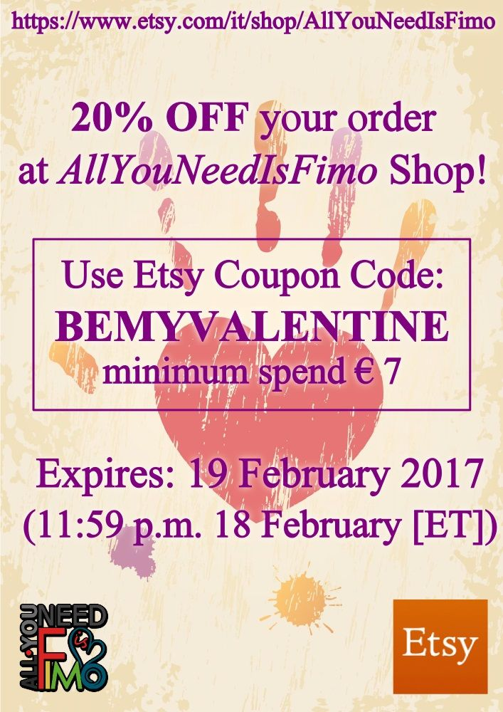 Use coupon code BEMYVALENTINE for 20% off in my Etsy Shop, min. spend. 7 €, till 19 February! ♥ https://www.etsy.com/it/shop/AllYouNeedIsFimo ♥ #fimo #polymerclay #handmade #etsy #etsyshop #etsyseller #buyhandmade #giftidea #giftforher #giftforhim #valentinesday #love #geek #nerd #otaku #anime #diy #jewelry #accessories #fimocreations #polymerclaycreations #charms #polymerclay charms #allyouneedisfimo #coupon #couponcode #sale #shop #buyonline #sellonline #craftsidea