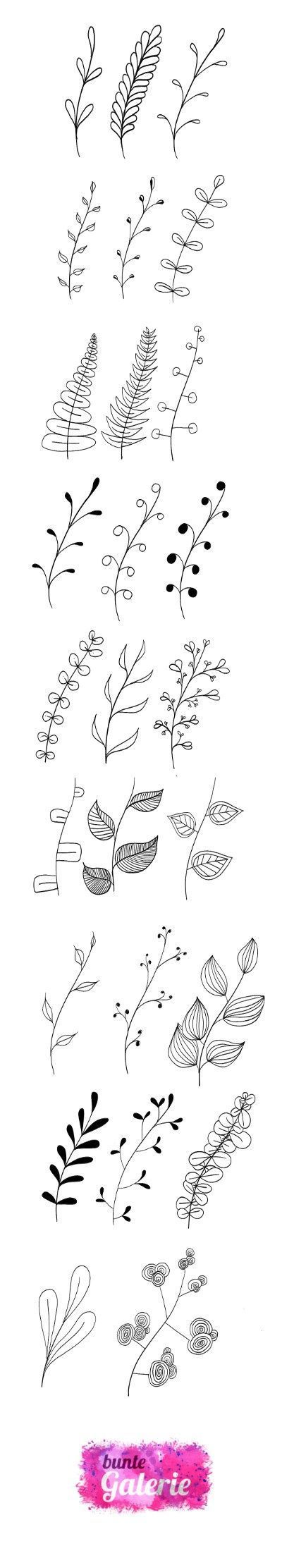 Embroidery Pattern from Doodle Florale Elemente für Lettering oder Zentangle. jwt