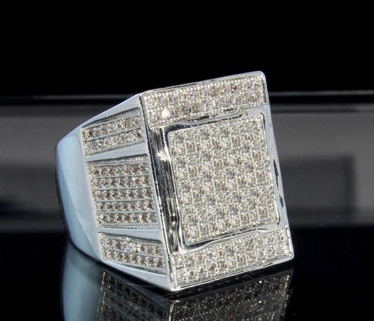 Mens Iced Out 3d Round Cut Lab Diamond Wedding Engagement Pinky Ring 4.50 Carat #br925silverczjewelry #MensWeddingPinkyRing