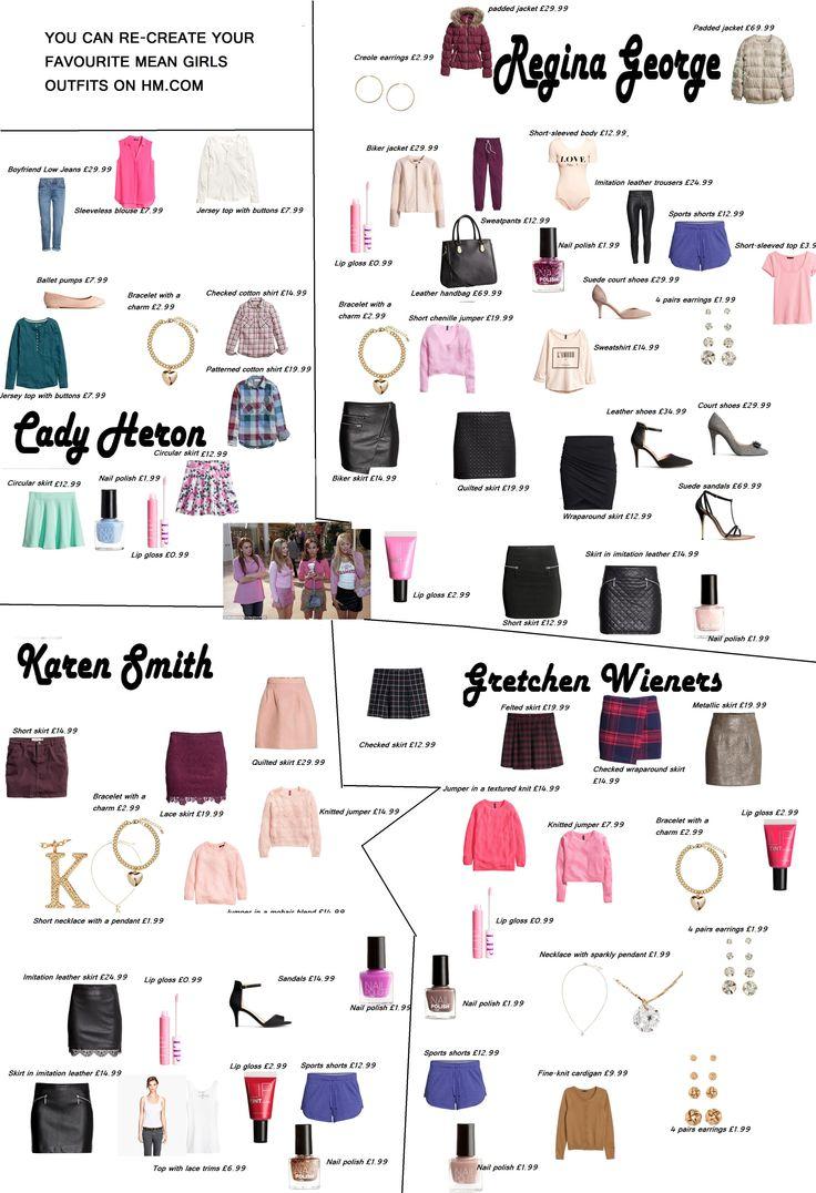 mean girls- mean girls outfits- mean girls clothes- created by http://www.pinterest.com/grainne1989/ get your favorite mean girl look. mean girls. Gretchen wieners-Regina George-Cady Heron--Karen Smith.