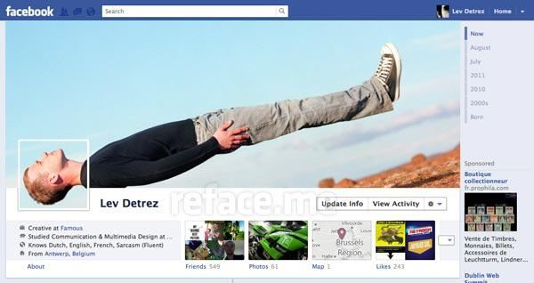 This awesome FB cover totally caught my eye. Both from its uniqueness and its ability to use an angled photo without looking like it was carelessly placed there. The use of the clouds as a means to prop the legs is great.