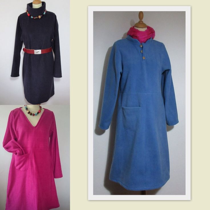 The woman's fleece dress collection so far, something for all shapes and sizes. Tip: the blue button dress looks great a size too big. So if you are a medium and want the baggy look, let me know, I can give you a large and adjust the sleeves. Womens Fleece dresses for the days we are fed up wearing trousers.