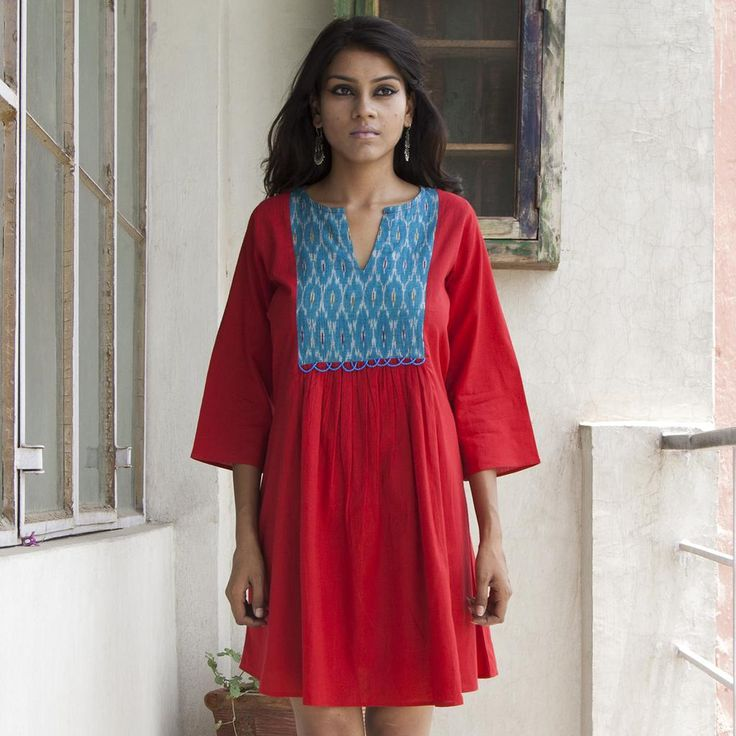 Flare Dress with Ikkat Patchwork Yoke - Red / Turquoise
