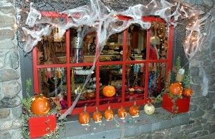 A Traditional Halloween Window Display