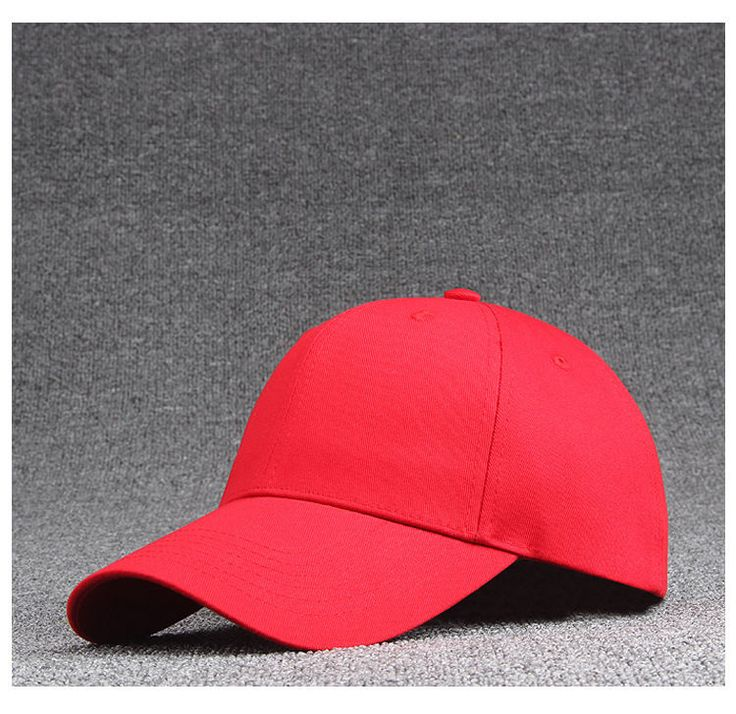 Sale Fashion Red Cotton Baseball Hat Solid Color Peaked Cap