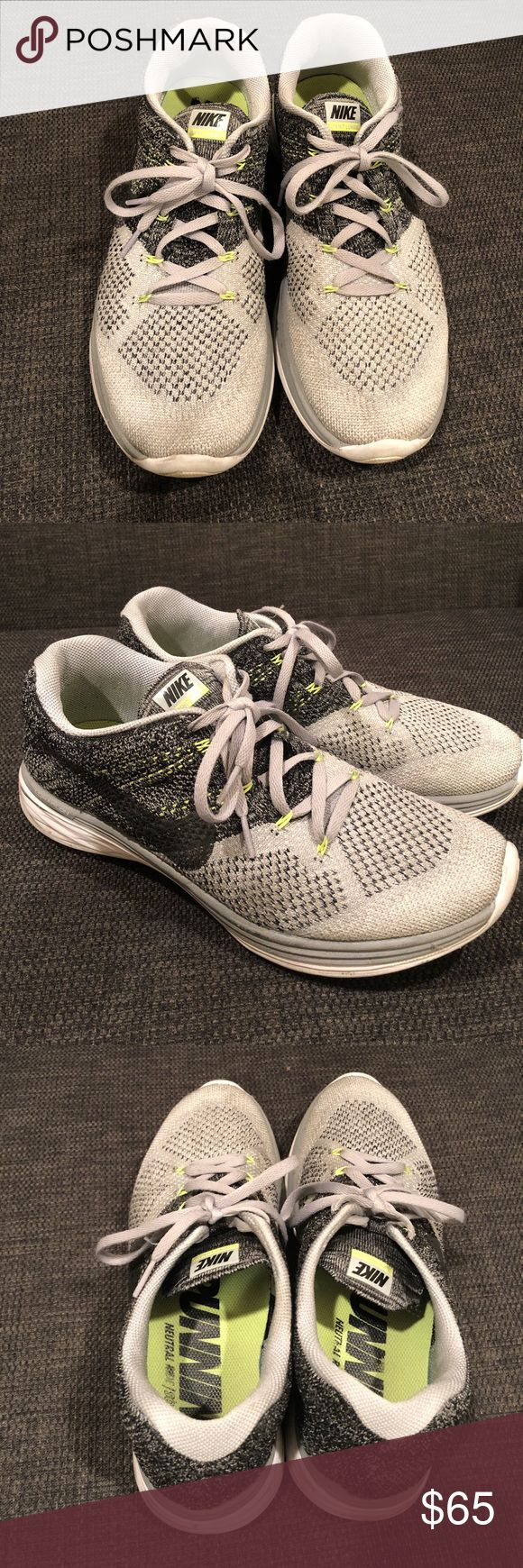 Nike Flyknit Lunar 3 Size 10 Pre-owned still in great condition. Men's Nike Flyknit Lunar 3 in grey. Perfect for running & work out :) make a reasonable offer and I will accept it. Thanks! Nike Shoes Sneakers