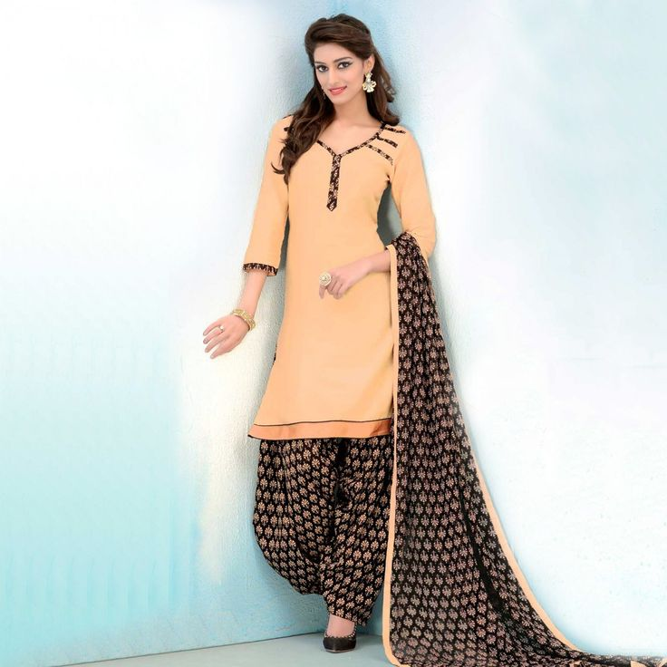 Buy Cream - Black Cotton Patiala Suit for womens online India, Best Prices, Reviews - Peachmode