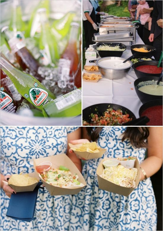 taco bar, self serve wedding food ideas, backyard wedding #weddingchicks
