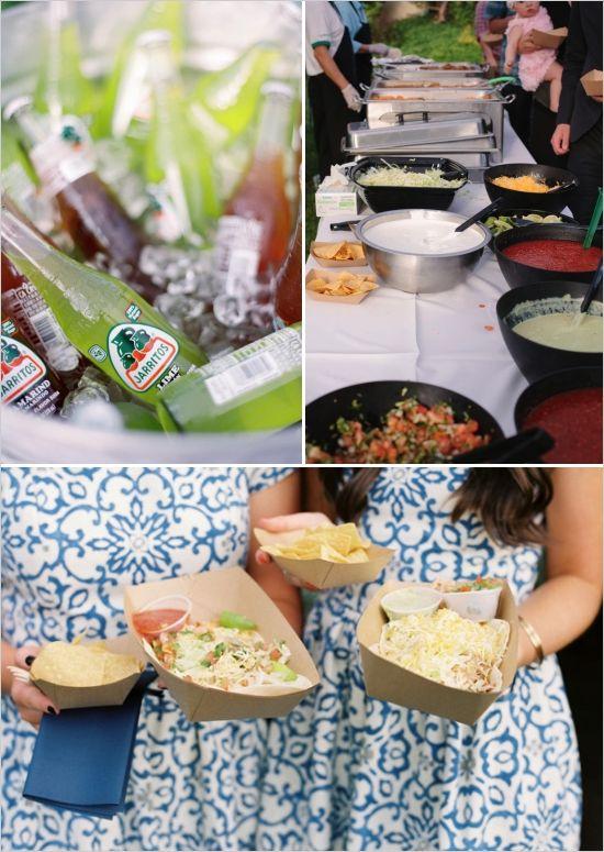 taco bar, self serve wedding food ideas, backyard wedding #weddingchicks