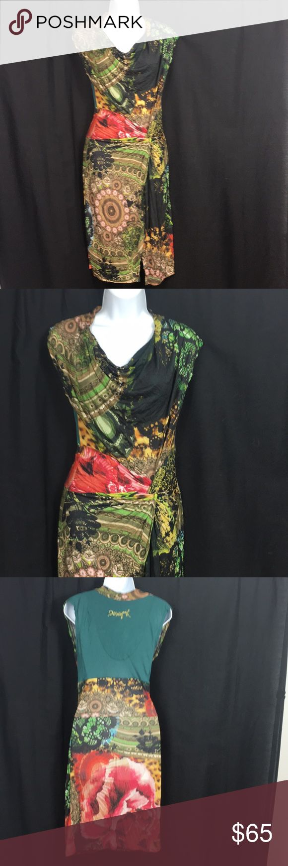 """Gorgeous Small Colorful  Pencil Dress Desigual size small just gorgeous gathered cowl pencil dress ..43"""" top to bottom laying flat ...18"""" armpit to armpit laying flat .. BUNDLE 3 or More SAVE 20%!!! Spend 💲20 or more and choose a FREE GIFT!!!!Choose your free gift by commenting on the item..... items with a 🎁 qualify as a free gift! Desigual Dresses"""