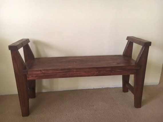 Farmhouse Style Bench Rustic Bench With Armrest Solid Wood Etsy Rustic Bench Rustic Bench Seat Solid Wood Benches