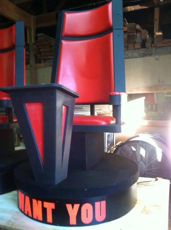 Less than 24 hours and it will have a new home!!!  Chair Created for TV Photo Shoot, Modeled After the Voice Chairs Red & Black