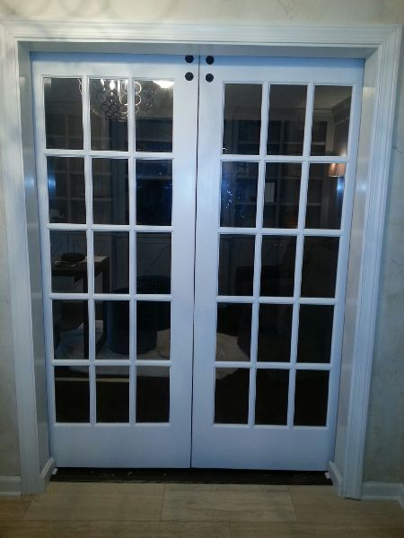 Custom Double Barn Door W Glass Transoms Back Side View