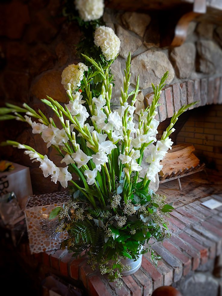 Rustic Barn Wedding - Fall Wedding - Gladiolus Rustic Galvanized Arrangement    Baumann's Florist