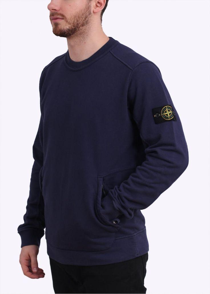 Stone Island Zip Logo Sweatshirt - Navy