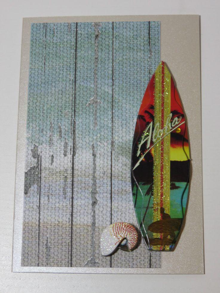 Handmade Greeting Card Unisex Surfboard Seaside by FabulousFuss on Etsy