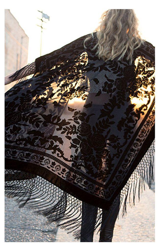 Floral Brocade Fringe Kimono - Black - Saltwater Gypsy  #bohemian ☮k☮ #boho #gypsy